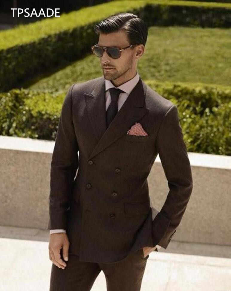Double Breasted Brown Wedding Suits 2 Pieces Mens Suits Slim Fit (Jacket+Pants) Groom Tuxedos Groomsman Suits Business Suit