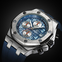 TORBOLLO New Men Watch Sports Blue Rubber Band 3ATM Water Resistant Quartz Wristwatch