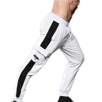 Men Jogging Pants Striped Running Pants Sport Pencil Pants Cotton Soft Bodybuilding Joggers Gym Trousers Running Tights Pockets