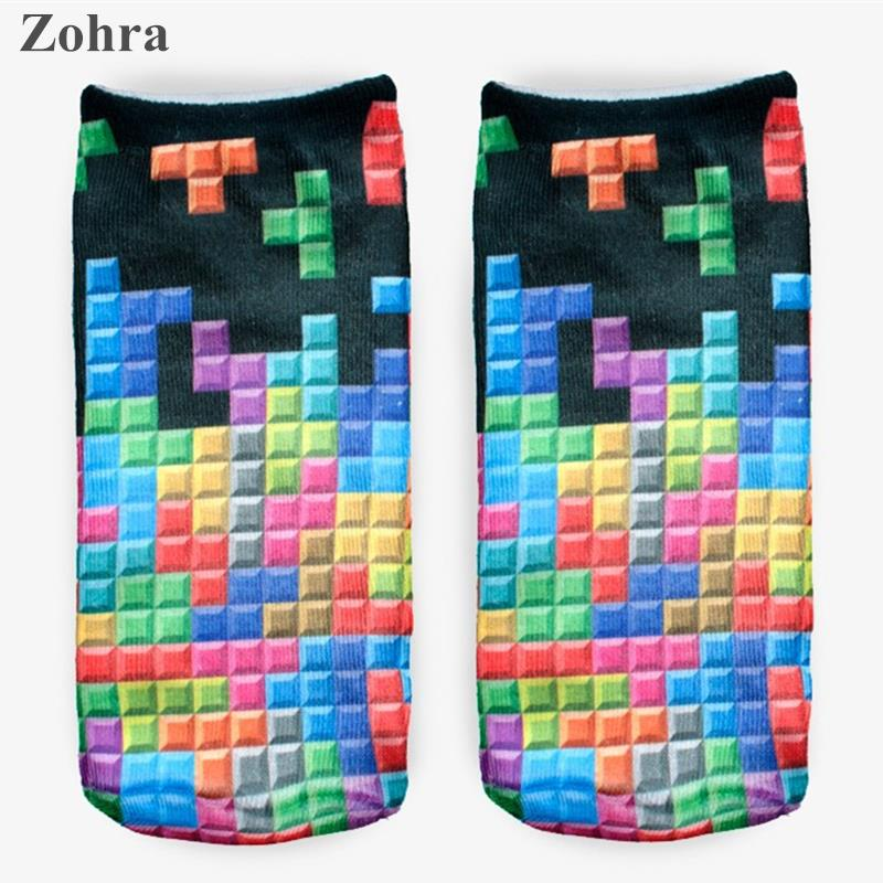 Zohra Winter Tetris 3D Graphic Full Printing Calcetines font b Sock b font Women s Ladies