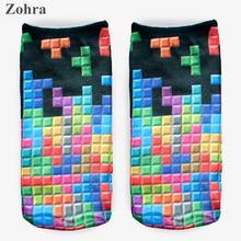 Zohra Winter Tetris =3D Graphic Full Printing Calcetines Sock Women's Ladies Meias Low Cut Ankle Socks Cotton Hosiery Socks
