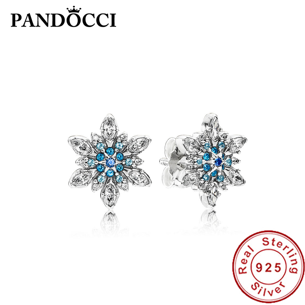 25b8f8fabb2ff PANDOCCI 100% 925 Sterling Silver 1:1 290590NBLMX CRYSTALLISED SNOWFLAKE  STUD EARRINGS Ear Studs Vintage Original Wedding