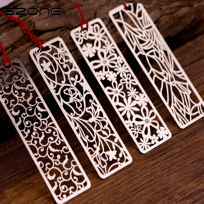 EZONE Retro Bookmark Chinese Classical Design Metal Bookmarks With Red Line Rectangle Shape Book Holder School Office Supplies