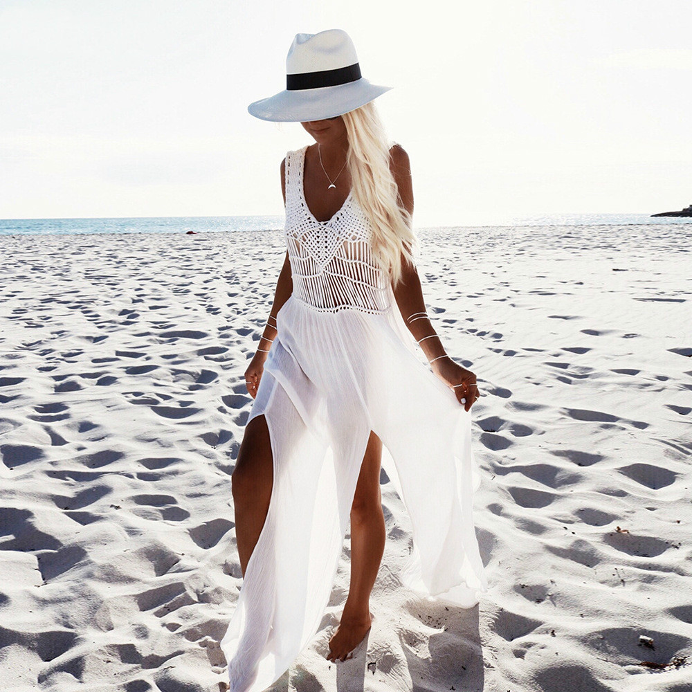2018 Summer Sexy Bikini Cover Lace Hollow Crochet Swimsuit Beach Dress Women Ladies Bathingsuit Beach Wear Maxi Split Dresses
