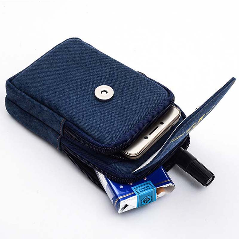 JINSERTA 5.2-5.7 inch Universal Phone Bag Case for iphone 8/7/6 plus Samsung s8 plus/s6 edge /N5/N4 Waist Packs Canvas Belt Bag