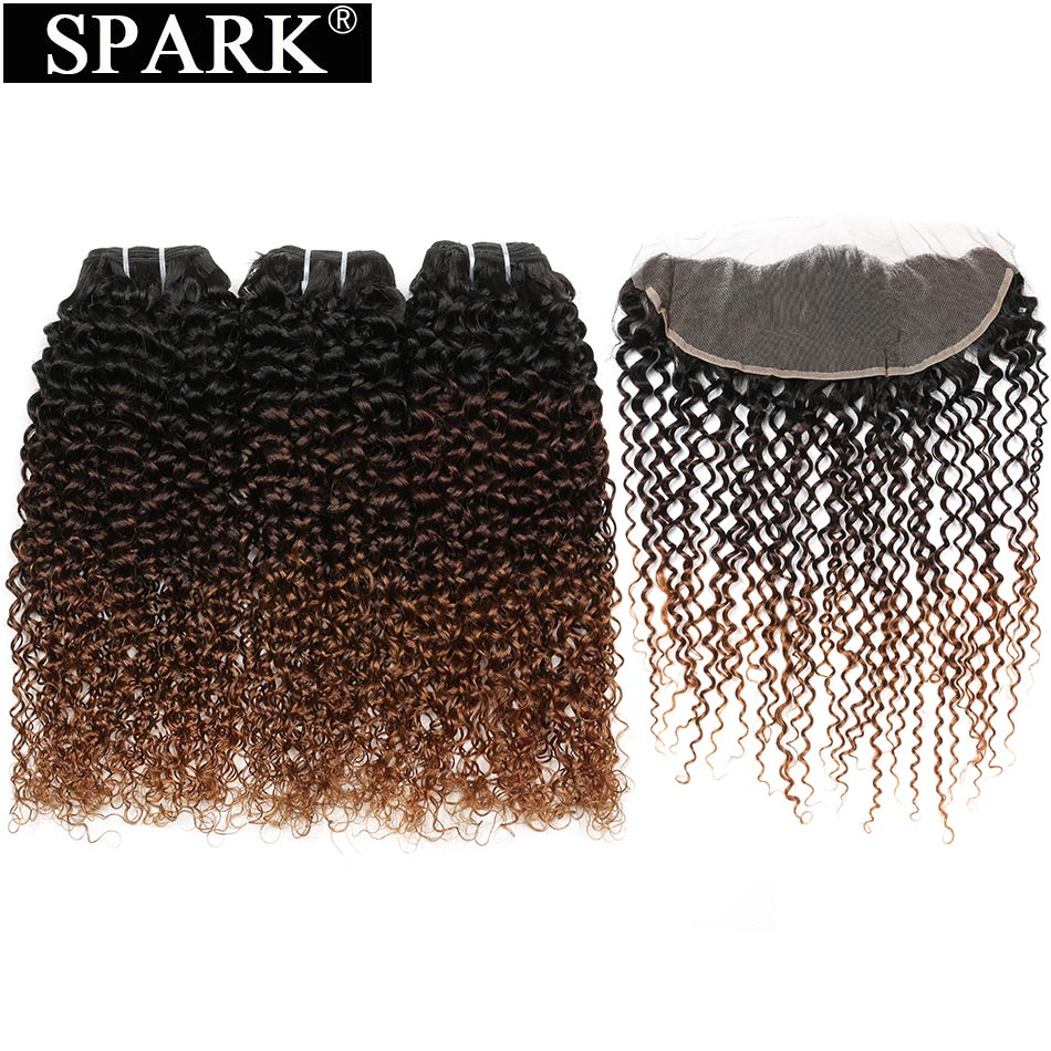 Spark Remy Hair Ear To Ear Lace Frontal Closure With 3 4 Bundles Brazilian Kinky Curly
