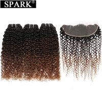 Spark Remy Hair Ear To Ear Lace Frontal Closure With 3/4 Bundles Brazilian Kinky Curly Human Hair Weaves with 1B/4/30 Bundles