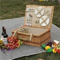 Антикварная большая плетеная корзина для пикника с настольным ковриком для 4 человек корзины для домашних запасов Винтаж плетеная набор дл