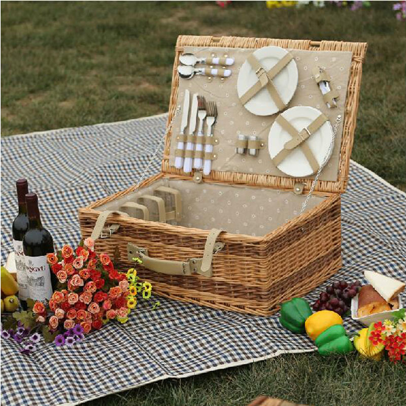 Antique Large Wicker Picnic Basket With Table Mat For 4 People Home Storage  Baskets Vintage Wicker Picnic Basket Set For Family