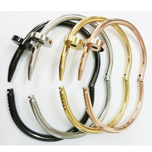 High Quality Gold Colour Women Cuff Nail Bangle Stainless St