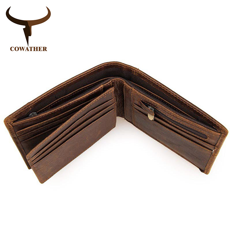 Image 5 - COWATHER 100% top quality cow genuine leather men wallets fashion splice purse dollar price carteira masculina original brandcarteira masculinaleather mens walletgenuine leather men wallet -