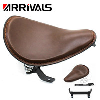 For Harley Custom Chopper Bobber 883 1200 XL Motorcycle brown Driver Solo Seat & Spring + Saddle Bracket