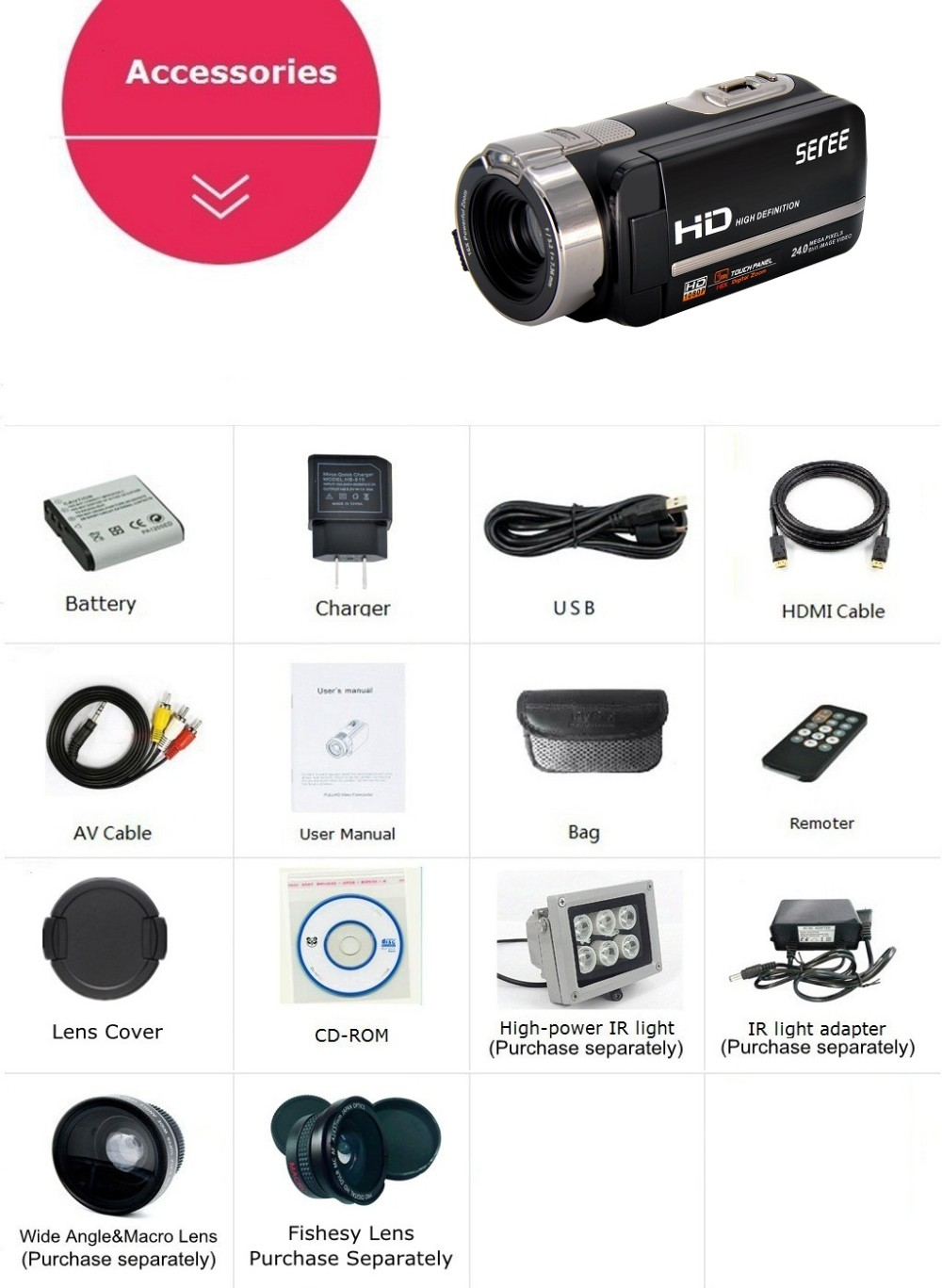 Marvie FHD 1080P 30FPSDigital Video Camcorder Night Vision Wide Angle Macro Fisheye Shooting 24MP 3 Inch Touch Screen Camera 8