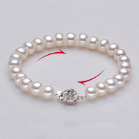 Sinya pearls strand bracelets for women with high luster natural freshwater pearl 9 10mm hot sale fine pearl jewelry