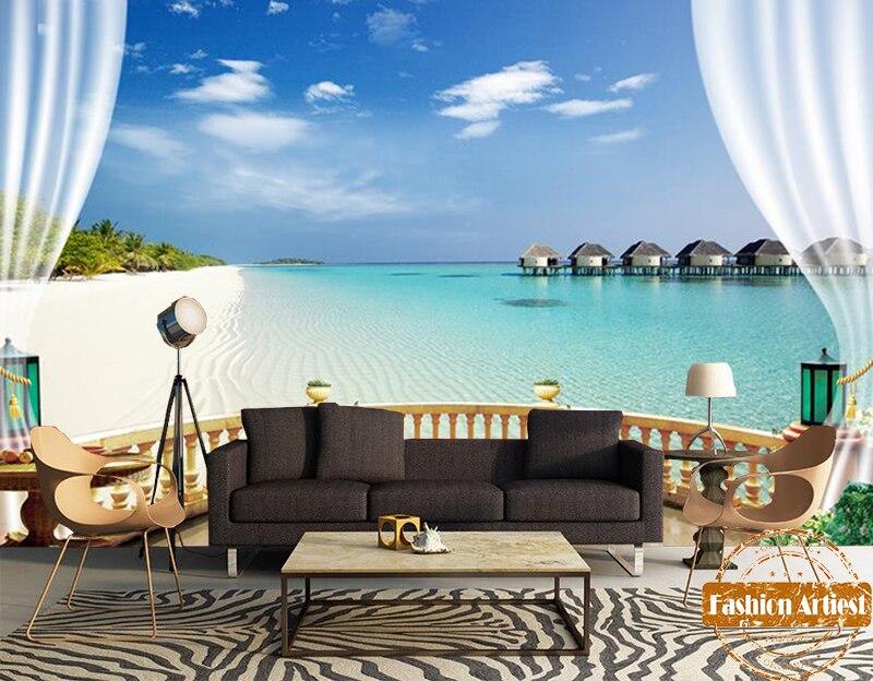 Tropical Beach Desktop Wallpapers Group 83: Custom 3d Tropical Sea Beach Sky View Scenery Wallpaper