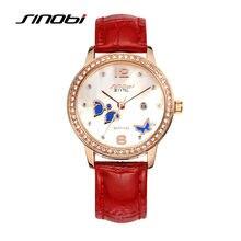 Senhoras de luxo em aço inoxidável relógio de pulso de quartzo-relógio de sinobi mulheres moda relógios de diamante de couro relógios de pulso feminino butterfly f96