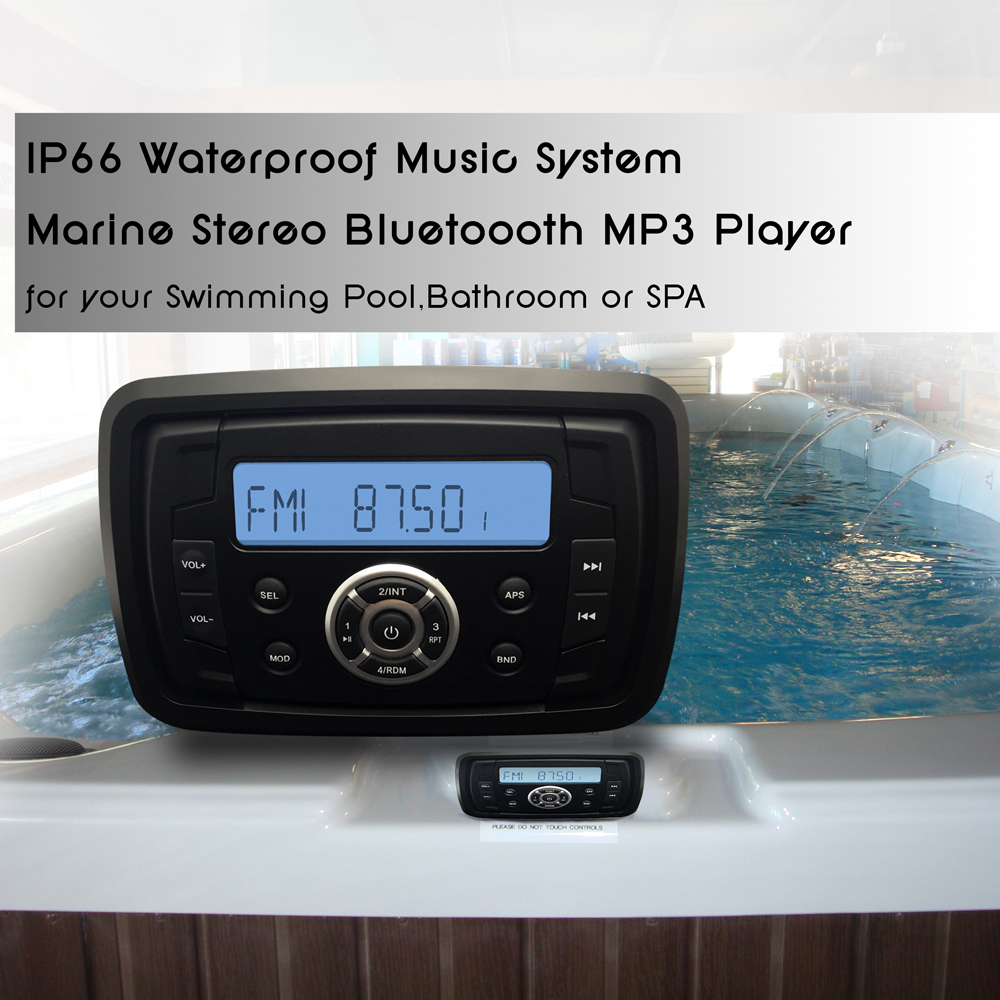 Marine Stereo Boat Audio Motorcycle Radio RV Car Bluetooth Sound System  Waterproof AM FM USB MP3