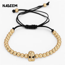 NADEEM Anil Arjandas Men'S 5mm CoppeBeads Black Eyes Spartan Warrior Helmet Charm Braiding Macrame Bracelet Pulseira Masculina(China)