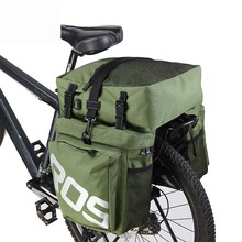3 in 1 Polyester Bicycle Bags High Capacity Waterproof MTB Mountain Road Double Side Rear Rack Tail Seat Trunk Bag Pannier 37L стоимость