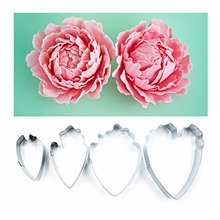 4Pcs Heart Peony Flower Cake Mold Cookie Cutter Fondant Cake Decorating Tools Sugarcraft Cutter Cake Baking Tools