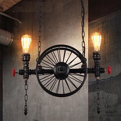 Loft Style Iron Wheels Edison Pendant Light Fixtures Water Pipe Hanging Lamp Vintage Industrial Lighting Lamparas Colgantes retro water pipe lamp loft style vintage industrial pendant lighting fixtures hanglamp lamparas colgantes edison light fixture