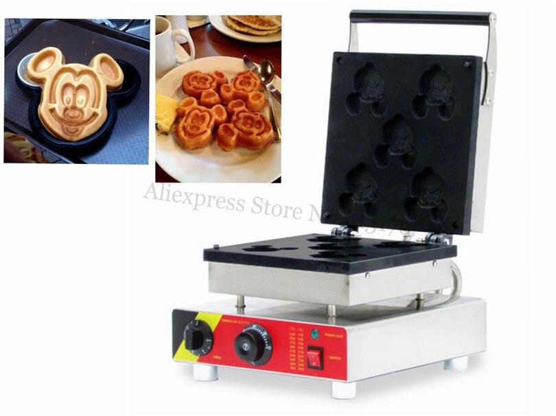 220V 110V Cartoon Mickey Waffle Machine Baker Electric Stainless Steel Waffle Maker 5 pcs Molds