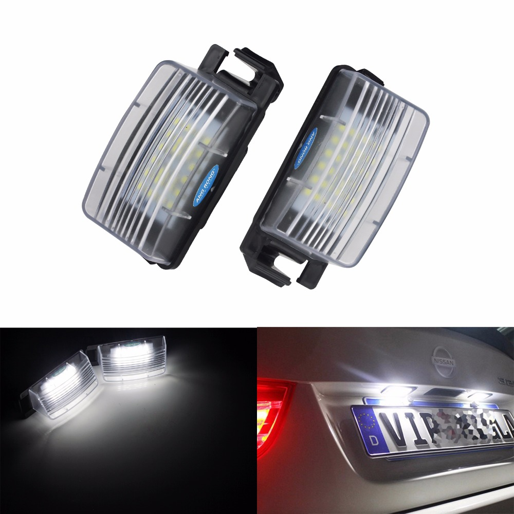 ANGRONG <font><b>2x</b></font> LED License Number Plate Light For Nissan 370Z R35 GTR Leaf <font><b>Cube</b></font> Tiida For Infiniti G25 G35 G37(CA157) image