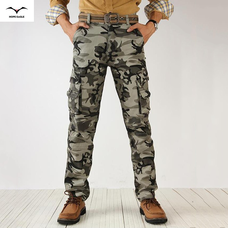 Active 2018 Men Spring Army Green Pantaloni cargo Cargo jogger Patchwork Pantaloni uomo Easy Wash Big Camouflage Cargo Pants
