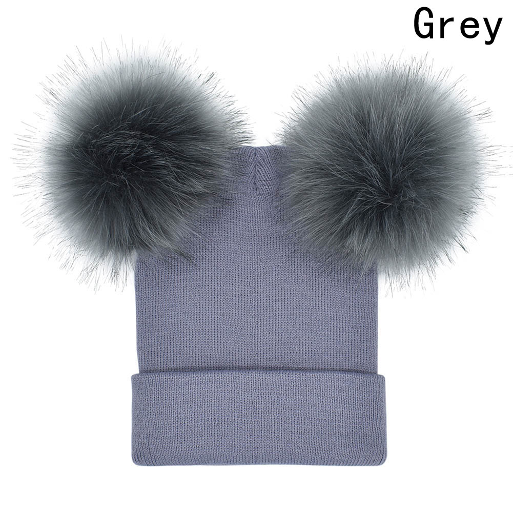 Winter Baby Knit  Hat With Two Fur Pompoms Boy Girls Natural Fur Ball Beanie Kids Caps Double Real Fur Pom Hat for Children