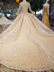 Image 2 - LS11003 champagne lace wedding dresses 2020 square neck see through long sleeves sexy v back wedding gown with shiny long train