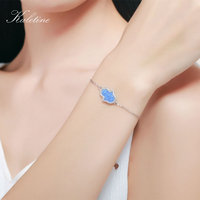 New Fashion Synthetic Opal Blue And White Hamsa Hand Of Fatima Genuine 925 Sterling Silver Bracelet