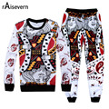 Raisevern 2016 New Harajuku Playing Cards Suits 3d Sweatshirt & Pants 2 Piece Set Tracksuits Hip Hop Hoodies & Joggers