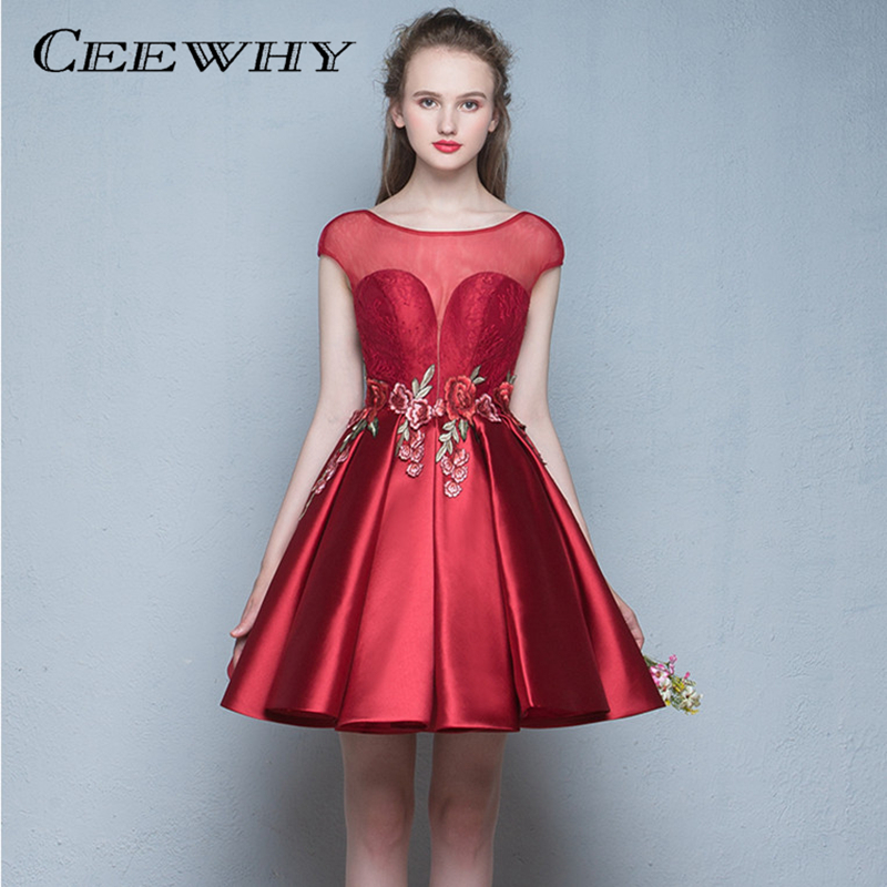 CEEWHY Embroidery Short Prom   Dresses   Formal Party   Dresses   Summer Knee Length   Cocktail     Dress   Floral Graduation Vestido de Noiva