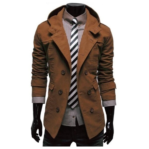 Mens Trench Coat New Fashion Design Men Windbreaker Coat Autumn Winter Double Breasted Windproof Slim Trench Coat Men Plus Size