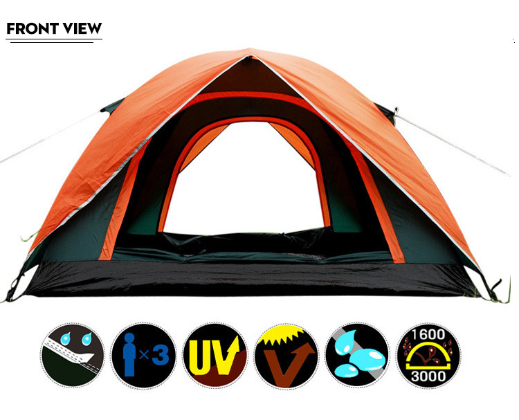 2015 Top Brand Quality double layer 3 4 person rainproof ourdoor camping tent for hiking fishing hunting adventure picnic party flytop high quality 3 person double layer rainproof windproof outdoor camping tent with snow skirt 210 50 180 50 115 cm