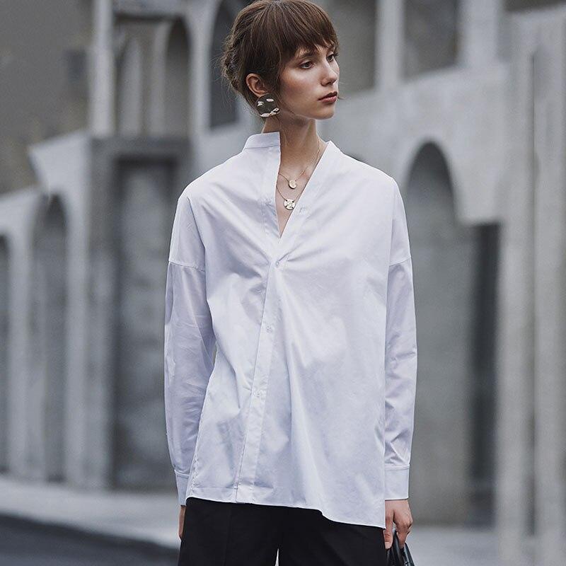 HG blanc lâche Blouse femmes irrégulière mince mode bouton élégant col montant loisirs 2019 nouveau automne chemises dames ZYQ1168 - 2