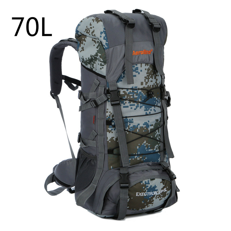 70L Outdoor Climbing Bags Waterproof Hiking Bag Sports Camo Backpack Camping Pack Mountaineer Climbing Sightseeing Rucksack