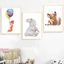 Fox Deer Bunny Wreath Wall Art Canvas Painting Watercolor Nordic Posters And Prints Cartoon Pictures For Kids Room Decor
