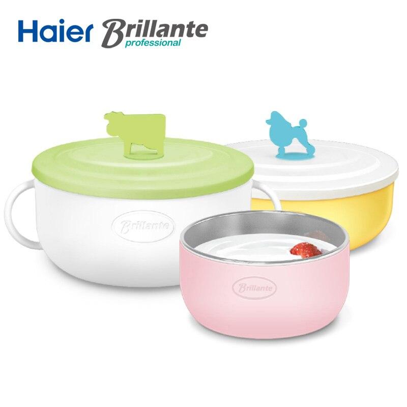 Haier BRILLANTE маленьких Столовая посуда из нержавеющей стали Еда контейнер дети Кормление чаша термос pp Материал красочные ребенок чаша