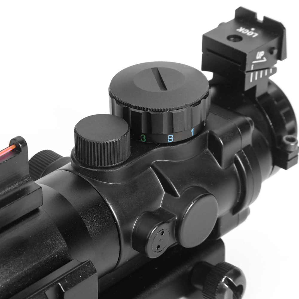 Image 4 - LUGER acog 4x32 Hunting Red Dot riflescope Reflex Tactical Optics Sight Scope With 20mm Dovetail Rail For airsoft air guns rifle-in Riflescopes from Sports & Entertainment