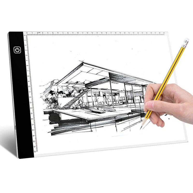 A4 Luz Led Tablero De Dibujo Caja De Luz Acrílica De Dibujo Boceto Tablet De Artista Placa De Soporte De Herramientas De Pintura