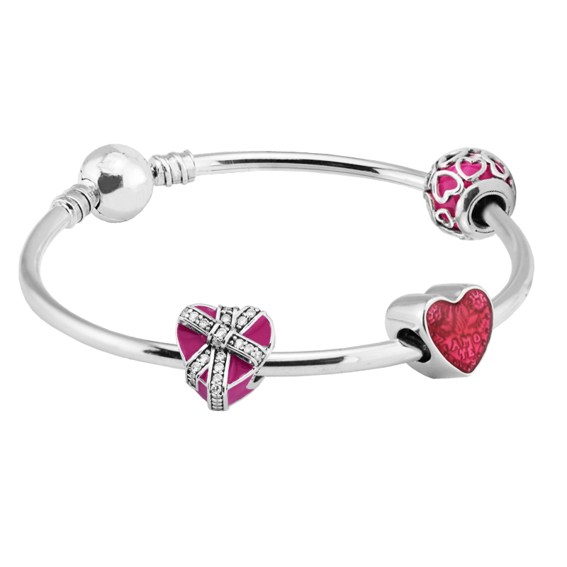 Red Heart Charm Beads Bangles 100 925 Sterling Silver Jewelry Set for Women Girl Gift DIY