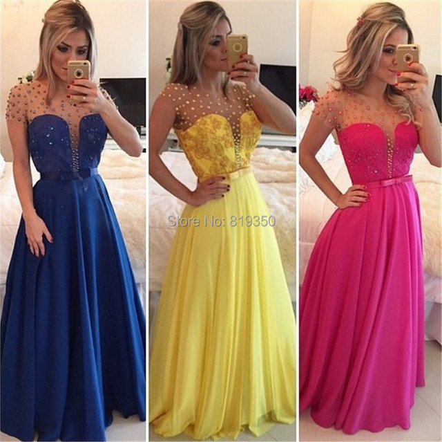 344352599 Vestidos De Fiesta Gala 2016 A Line Long Prom Dress Short Sleeves With  Beads Yellow Bow Cheap Party Gown Plus Size Evening Dress