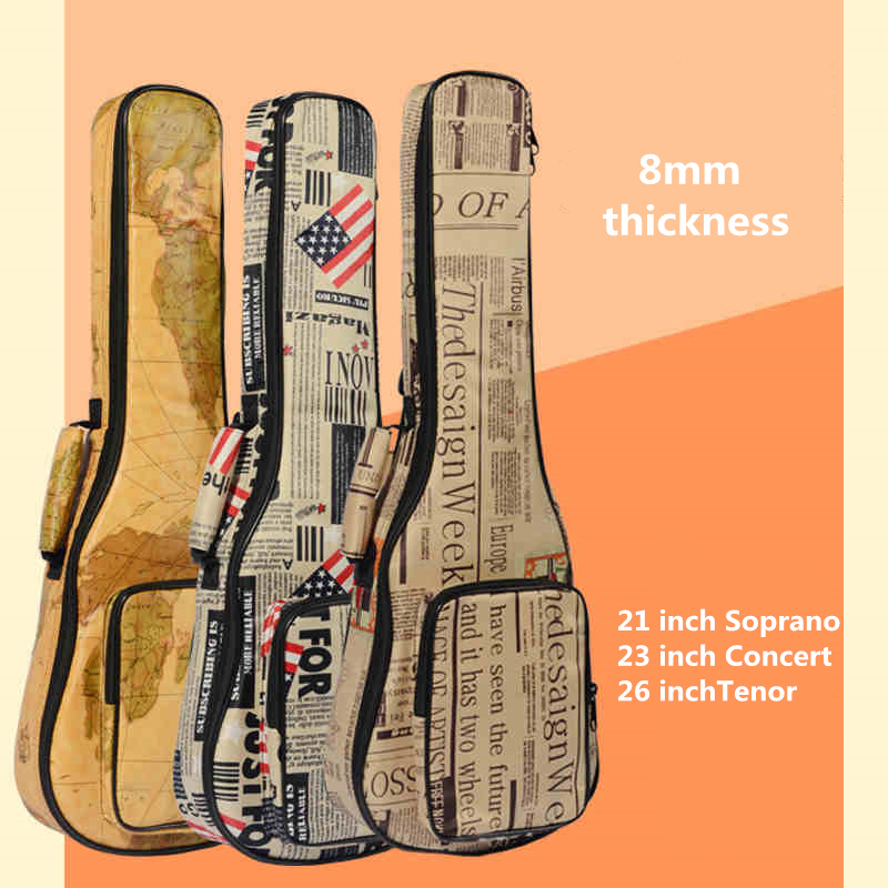 10mm Thick Leather Canvas Waterproof Soprano Concert Tenor Ukulele Bag Case Backpack 21 23 26 Inch Ukelele Guitar Gig 21 soprano ukulele ukulele gig bag case 600d water resistant nylon hand strap 20 12