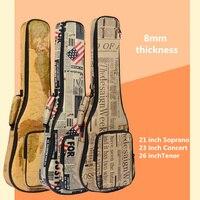 Thick Waterproof Soprano Concert Ukulele Bag Case Backpack 21 23 26 Inch Ukelele Beige Mini Guitar