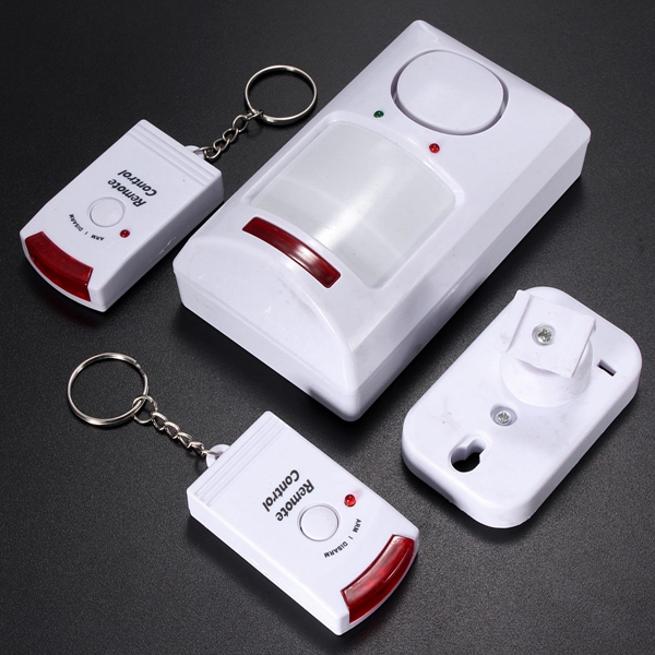 Tragbare IR Wireless Motion Sensor + 2 Fernbedienung Home Security Alarmanlage