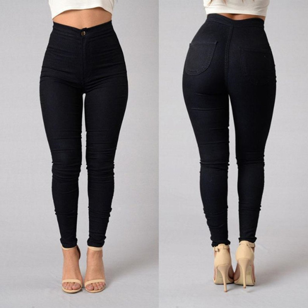 2018 New Women Sexy Elastic Wasit Skinny Pencil   Pants   Stretchy Cotton   Pants     Capris   New Casual Pocket Bottoming   Pants   Trousers