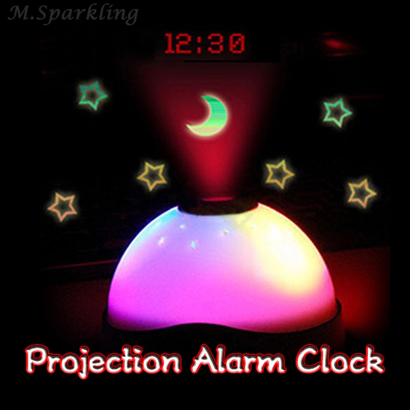 Colorful Projection Clock Star Sky Night Light LED Magic Digital Projection Starry Alarm Clock Time Home Table Decoration in Alarm Clocks from Home Garden