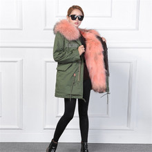 Women Army Green Floral Long Coat Streetwear Patches Rivet Zipper Retro Parkas Jackets With Real Fox Fur Inside Raccoon Fur Hood