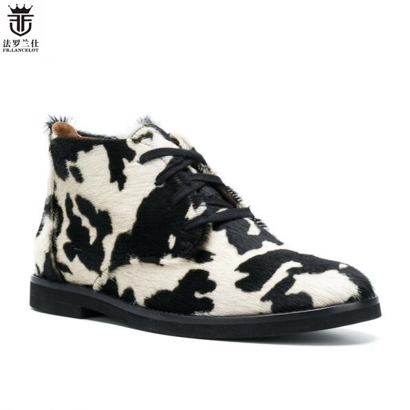 2018 Suede Horsehair fur Men booties lace up Chelsea Boots Cow pattern Ankle Boots Leopard Large Size for Men Shoes fashion tassels ornament leopard pattern flat shoes loafers shoes black leopard pair size 38